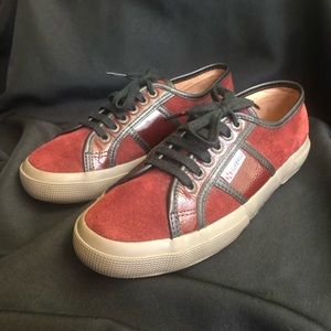 Superga Furla Sneakers Burgundy Suede and Leather